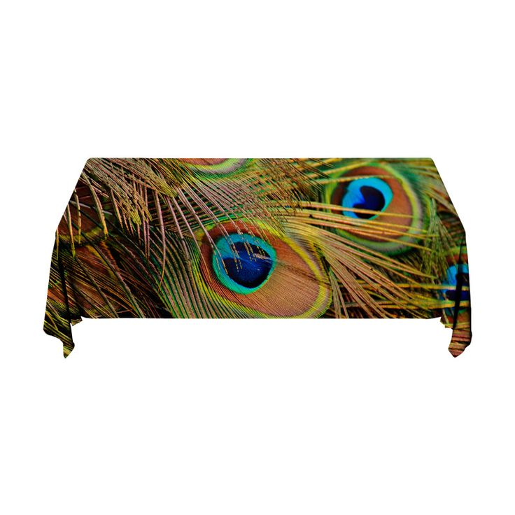 Tafelkleed Pauwveren | Fleur je keuken op met dit weerbestendige tafelkleed bestaande uit geweven linnen met PVC.   #tafelkleed #keukentextiel #keuken #kleed #pvc #print #opdruk #tafel #weerbestendig #pauw #veren #vogel #dier