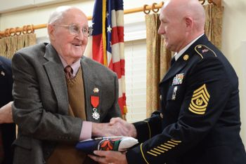 Valor awards for TSGT Carl D. Profit (Proffitt) (1918-2015) US Army. Distinguished Service Cross for extreme heroism in connection with military operations against an armed enemy on 6 June 1944, at Normandy, France. Given a battlefield commission to 2LT in October 1944. Other awards include; Silver Star, Bronze Star with Oak Leaf Cluster, Purple Heart with 2 Oak Leaf Clusters.