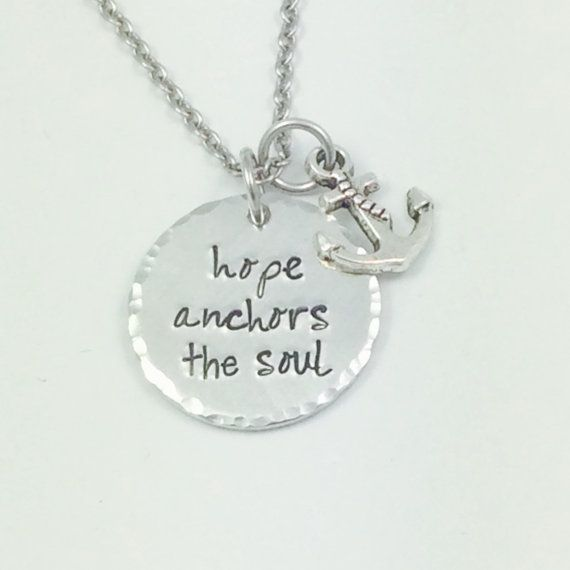 Hey, I found this really awesome Etsy listing at https://www.etsy.com/listing/160560135/hand-stamped-necklace-hope-anchors-the
