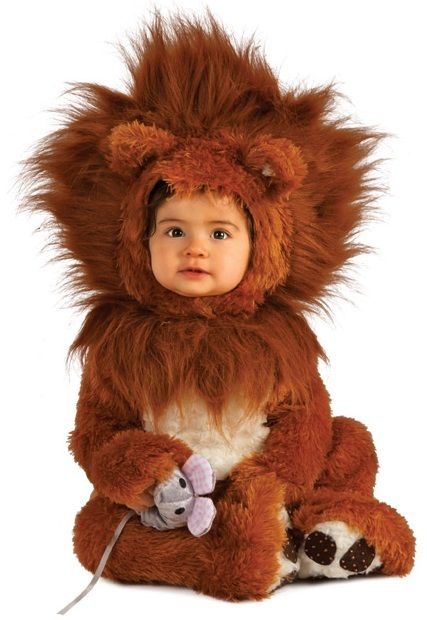 Lion Cub Cute Toddlers Halloween Costume - This adorable fuzzy lion romper is one of best animal costumes you could put your baby in! Who doesn't want to dress up their kid in silly and cute costumes? This mighty Lion Cub outfit will put a smile on everyone's face.  This three-piece costume has a suit, hood and toy mouse. The costume is long soft faux fur. #costume #yyc #calgary #lion #toddler #infant