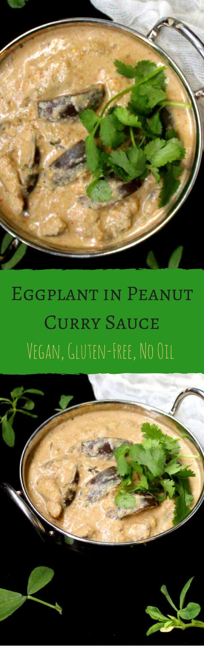 Eggplant in peanut curry sauce, glutenfree, vegan - holycowvegan.net