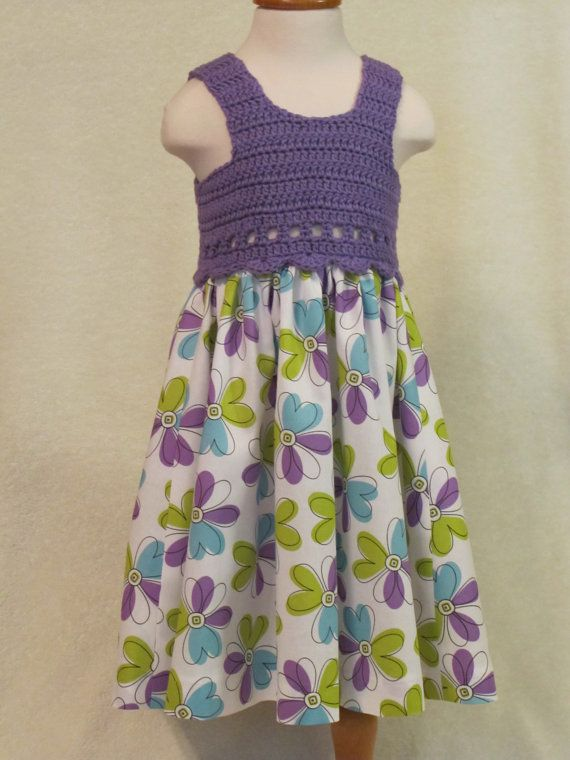 Baby dress with crochet bodice purple and by FeathersnFrocks