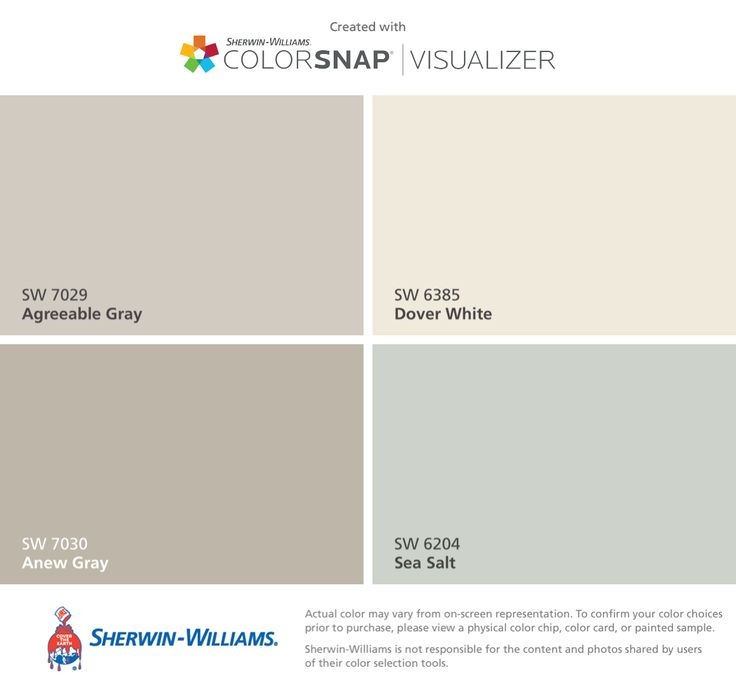 I found these colors with ColorSnap® Visualizer for iPhone by Sherwin-Williams: Agreeable Gray (SW 7029), Anew Gray (SW 7030), Dover White (SW 6385), Sea Salt (SW 6204).