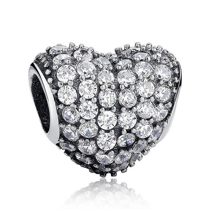 Charm : 925 Sterling Silver Sparkling Heart Bracelet Charm #jewelry #fashion #style #charm # bracelet #silver #prom #teenfashion