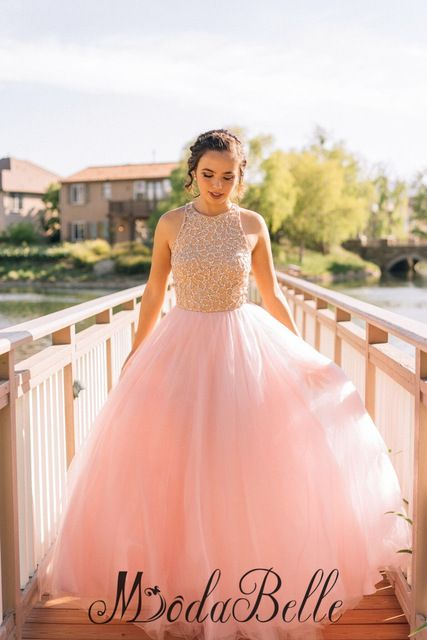 2016 Pink Tulle Beaded Long Prom Dresses Gorgeous O Neck Off The Shoulder Prom Gowns Wedding Party Dresses Vestidos De Baile