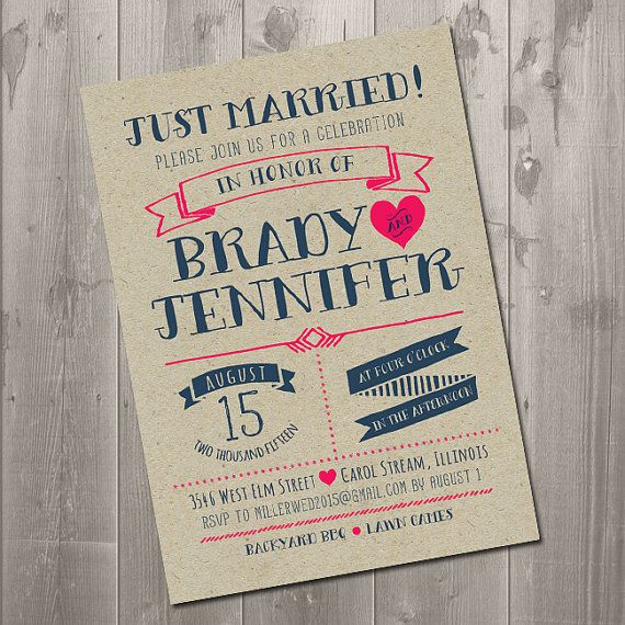 Modern Typography Just Married Wedding Announcement Reception Invitation - DIY Printable Invitation $15
