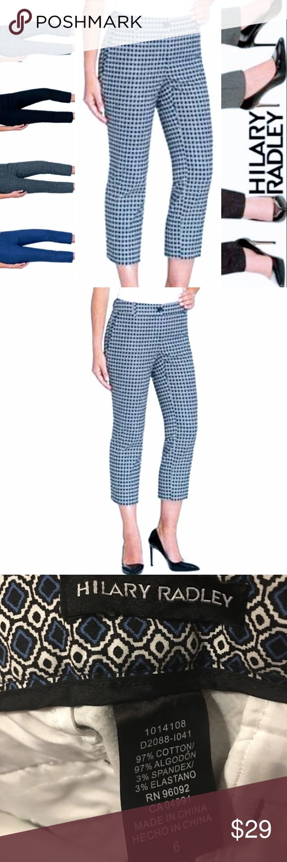 """HILARY RADLEY CROPPED PATTERN TROUSERS NORDSTROM Super fun diamond patterned, cropped pants, by Hilary Radley NY for Nordstrom. Navy/black/white. Perfect colors for the nautical trend upon us! Cotton/spandex blend. Button/zip front closure with functional, vertical slit, back pockets. Inseam is approximately 23"""", rise is approximately 8"""" and 7"""" at ankle. NWOT Awesome! Comes from a smoke free home 🏡 Bundle & save! Nordstrom Pants Ankle & Cropped"""
