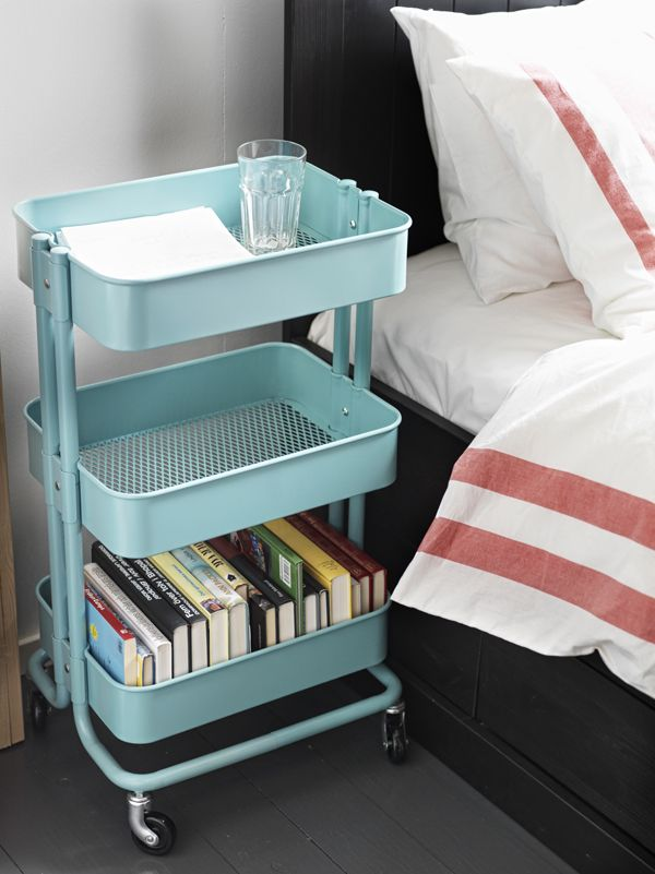 Add extra storage right at your bedside with the IKEA RÅSKOG utility cart! The three sections make organizing everything simple, while the four casters make it easy for you to move the cart and use it in any room of your home.