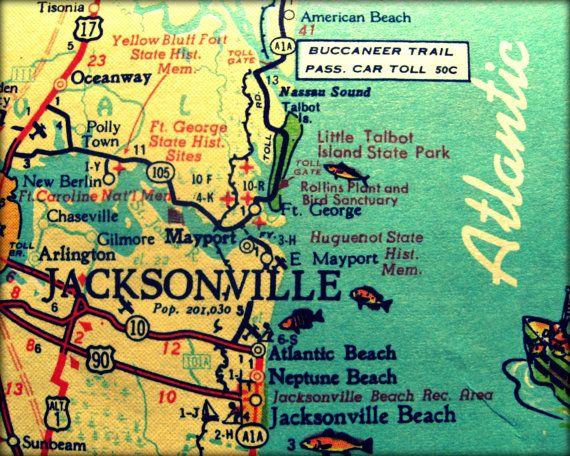 vintage map JACKSONVILLE 11x14 retro Florida photograph print Neptune Atlantic Beach 1960s aqua  yellow wall art coastal decor picture