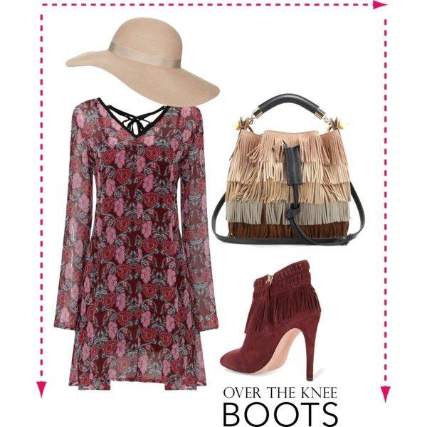 Fashion  look. Insipirado en el Burgundy, la tendencia Boho y accesorios perfectos.