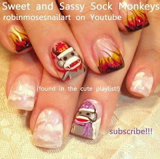 SOCK MONKEY NAIL ART NAILS  http://www.youtube.com/watch?v=fombvn7W0Xk