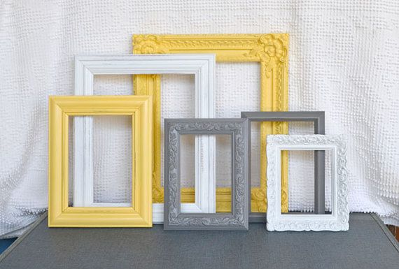 Yellow, Grey Gray White Ornate Frames with GLASS set of 6 - Upcycled Frames Modern  Bedroom Decor. This yellow is almost to much, but the over all color scheme is good. I would go with the other yellows though