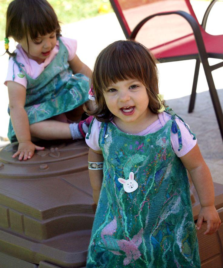 Nuno felted unique designer natural silk dress little girl OOAK art to wear dress special occasion children