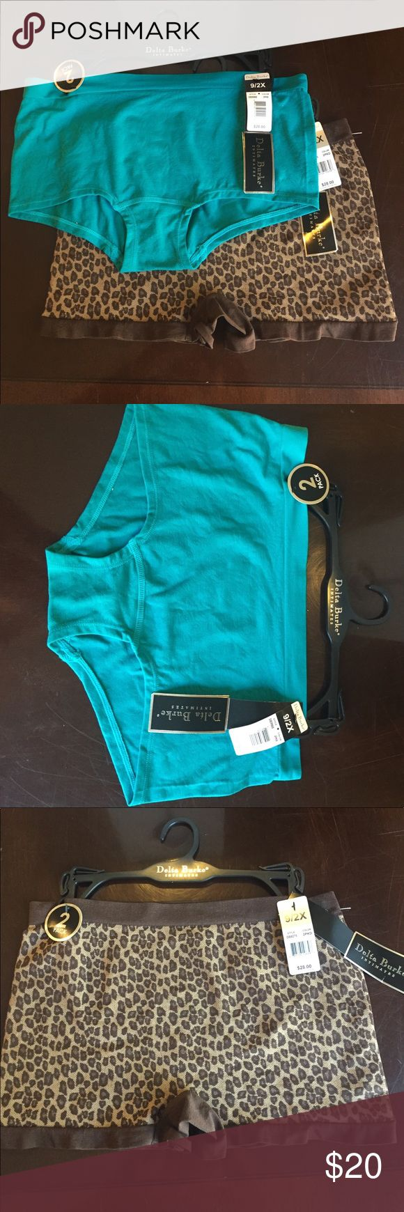 Delta Burke Intimates 2 Pairs of New Underwear Brand new with tags pair of Delta Burke Intimates. Size 9/2X. One pair of blue briefs with flower detail and one pair of leopard/cheetah boy shorts Delta Burke Intimates & Sleepwear Panties