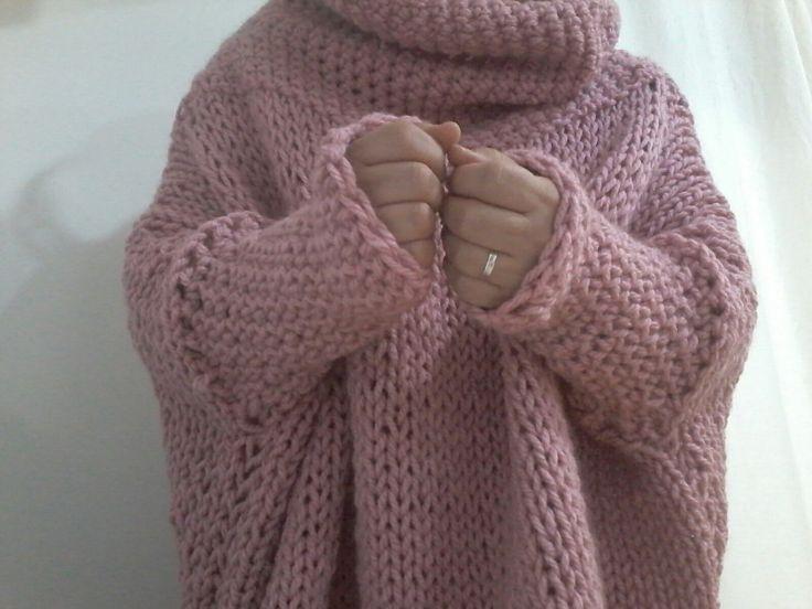 Jersey XXL con agujas y crochet