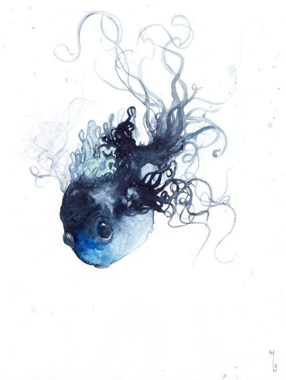 Dark Blue Fish Painting Watercolor Wanderer Of The Deep