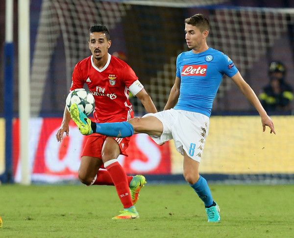 Jorginho (R) of Napoli competes for the ball with of Andrè Almeida Benfica during the UEFA Champions League match between SSC Napoli and Benfica at Stadio San Paolo on September 28, 2016 in Naples, Italy.