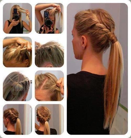braid into long ponytail