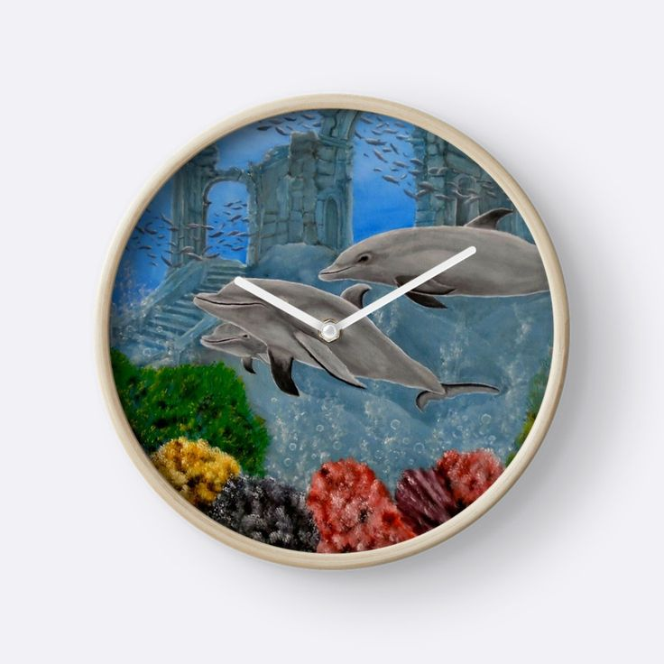 Wall Clock, artistic,decorative,items,dolphins,aqua,blue,grey,wildlife,ocean,modern,beautiful,awesome,cool,home,office,wall,decor,decoration,gifts,presents,ideas,for sale,redbubble