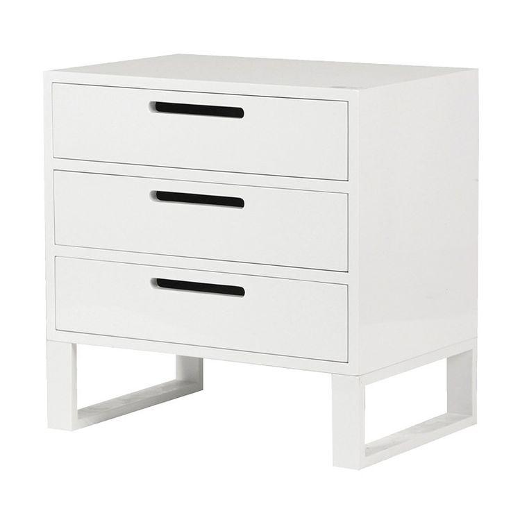 White High Gloss 3 Drawer Bedside