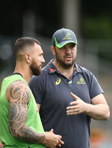 Quade Cooper Photos Photos - Wallabies coach Michael Cheika talks to Quade Cooper during an Austalian Wallabies training session at Leichhardt Oval on October 20, 2016 in Sydney, Australia. - Wallabies Training Session