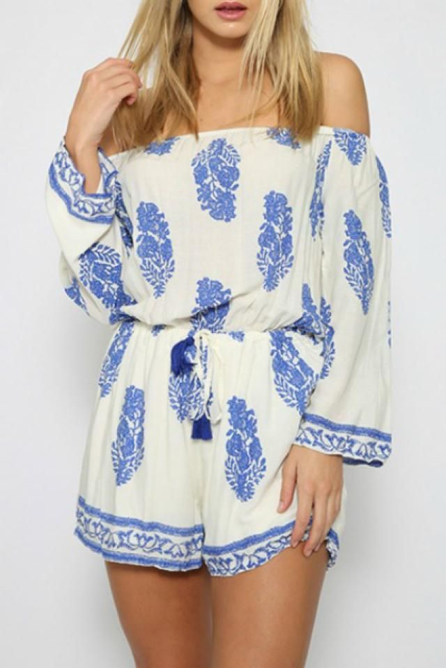10 Rompers That Need to Live In Your Closet, STAT: Vintage Leaf Print Off Shoulder Romper