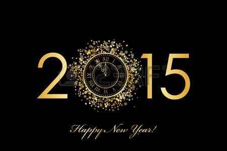Vector 2015 Šťastný Nový Rok pozadí s zlaté hodiny Reklamní fotografie