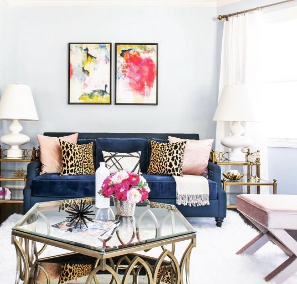 Feminine Living Room Blush Pink And Gold Accents Leopard
