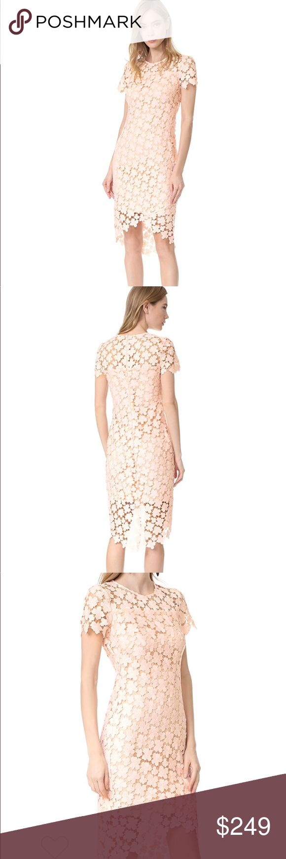 NWT Shoshanna Baylor Dress Size 0 New with Tag. Brand new Shoshanna blush dress in size 0 https://m.shopbop.com/baylor-dress-shoshanna/vp/v=1/1514632904.htm DETAILS  A guipure lace Shoshanna dress in a formfitting silhouette. Sheer panels at the yoke and hem reveal a peek of skin. Short sleeves. Hidden back zip. Tonal lining.  Fabric: Guipure lace. 100% polyester. Dry clean. Made in the USA.  Measurements Length 1: 34.75in / 88cm, from shoulder to shortest point Length 2: 43in / 109cm, from…