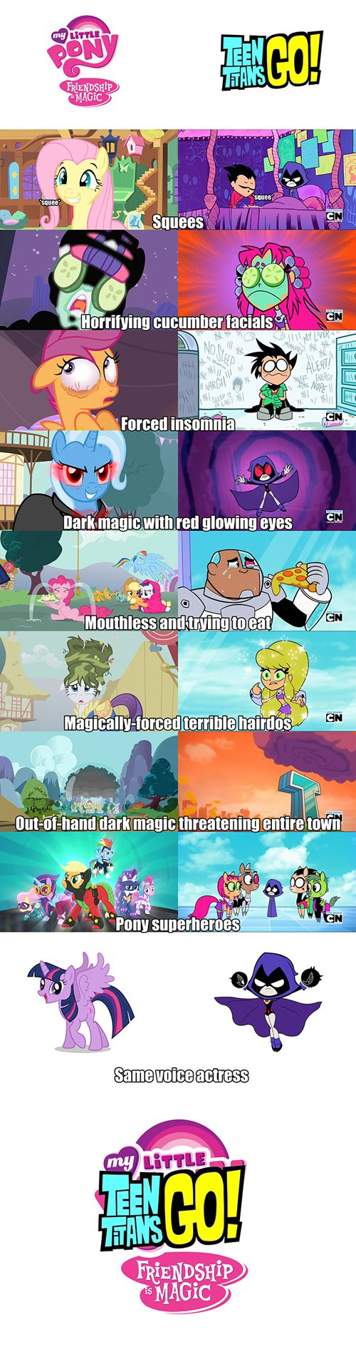 They're Basically The Same Show>>> Actually TTG is stupid and pointless and that's all the show is about. The stupid antics. MLP incorporates the funny antics but it's not all about being stupid. MAJOR DIFFERENCE PEOPLE!