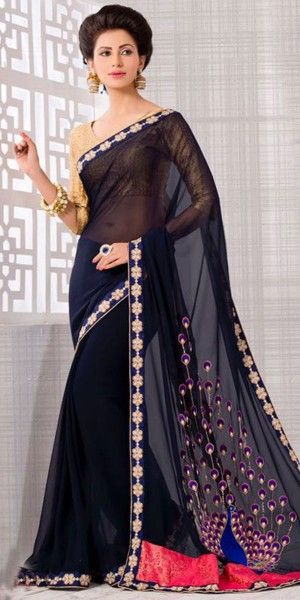 Gorgeous Embroidered Pallu Saree in Navy Blue Color.
