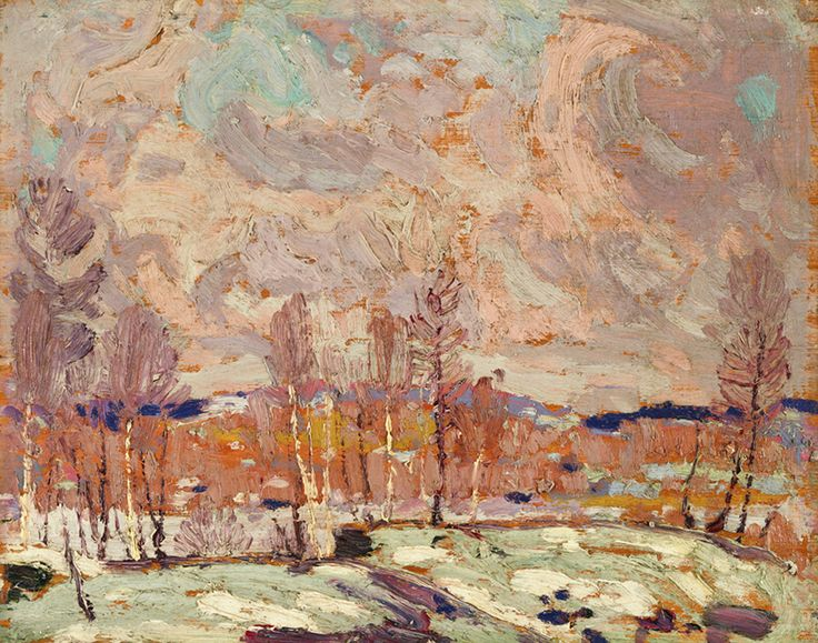 """Here in a few quick, expressive brush strokes, Thomson captures the melting ice and snow amid the promise of an early spring. """"Spring Flood,"""" 1917, McMichael Canadian Art Collection."""