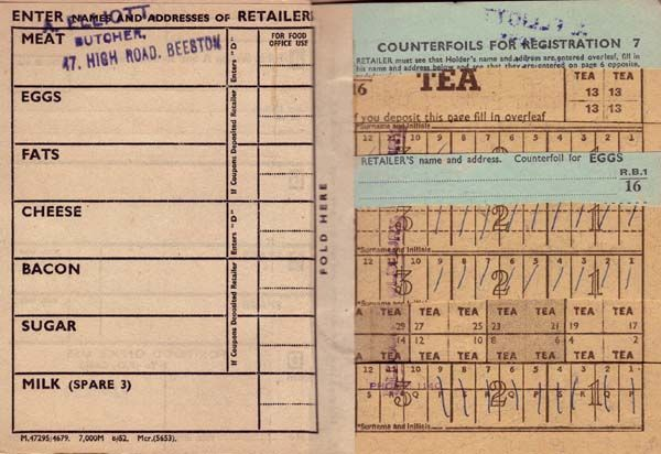 Inside ration book WW2