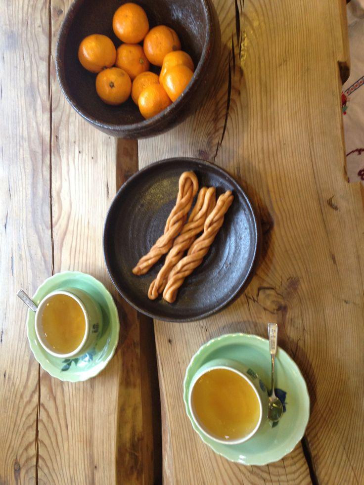 mandarin, citron tea, twisted doughnut  @Hwajin Kim, South Korea