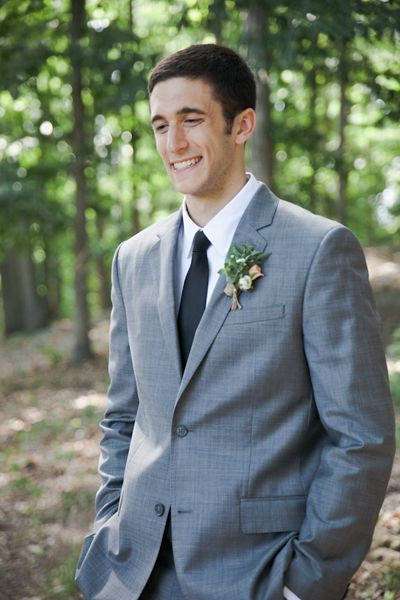 gray suit groom | Caroline Joy #wedding