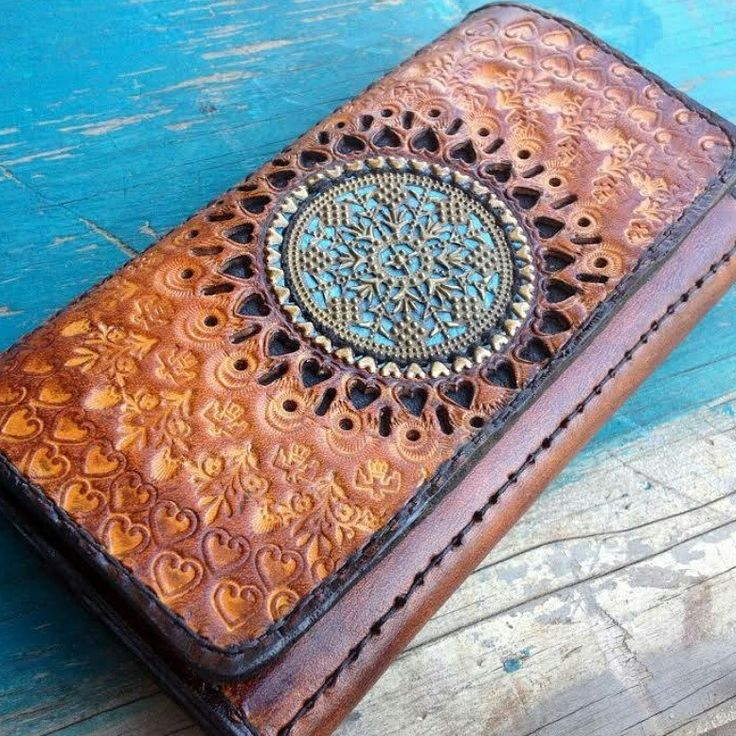 Mandala hand tooled carved leather purse