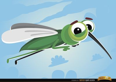 Cartoon Mosquito flying insect. It's a nice vector insect to use as a mascot in campaigns or promos related to mosquitos, it's also good to use in digital or printed material for children. High quality JPG included. Under Commons 4.0. Attribution License.