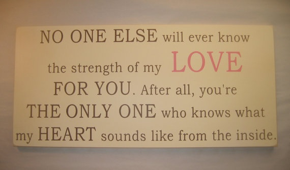 I read this and it brought tears to my eyes and had to have it. It will be hanging in the nursery soon. :)