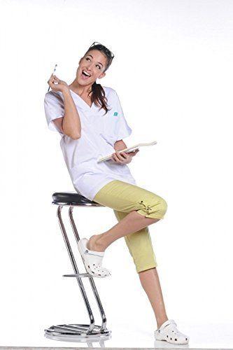 Tunique médicale blanche, manches courtes, 3 poches (blouse infirmiere estheticienne pharmacie…): Tunique mixte manches courtes kimono / 1…