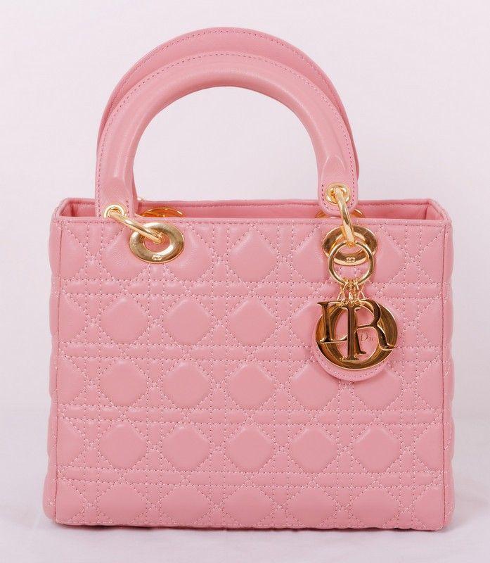 Сумочка Lady Dior из натуральной кожи ягненка, розовый цвет, золотистая фурнитура
