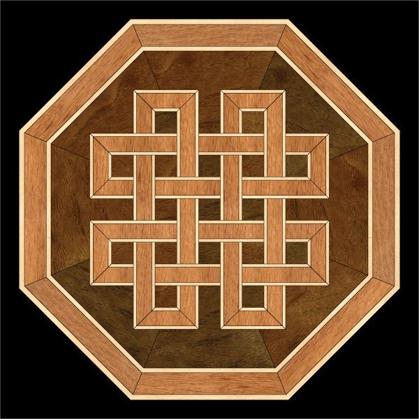 Celtic Knot wood flooring medallion. Oak, maple and walnut. #woodfloor #woodfloormedallion #wood #woodworking #woodfloordesign #inlay #intarsia #interiordesign #art #design #floor #floormedallion #functionalart #hardwoodfloor #inlaid #marquetry #pattern #parquet #woodinlay #medallion
