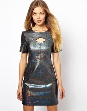 Image 1 ofASOS Snake Holographic Leather Cut Out Mini Dress