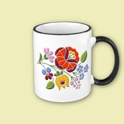 Kalocsa Embroidery - Hungarian Folk Art Coffee Mug