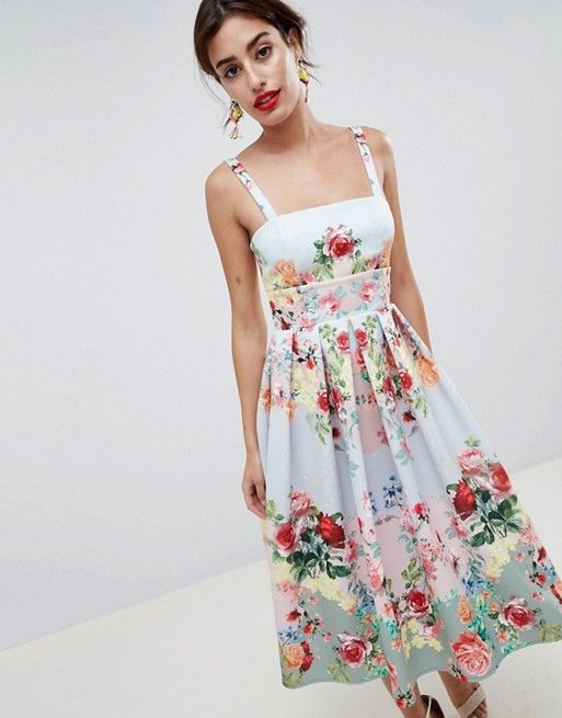 aad0a6c10b DESIGN square neck floral scuba prom dress in 2019 | Fashion ...
