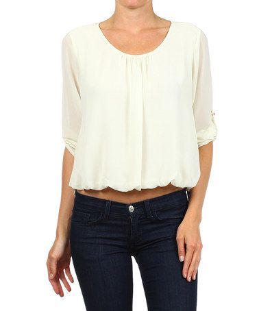 White Hi-Low Blouson Top