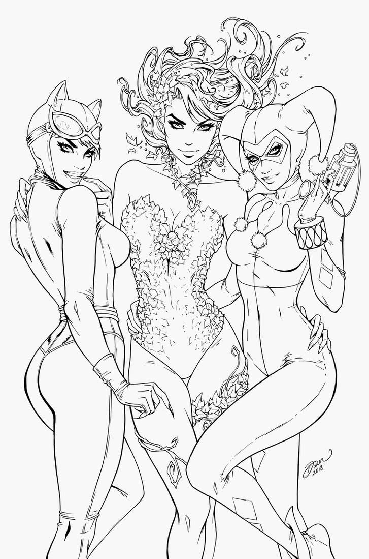 Poison Ivy Harleyquinn Catwoman Dawn Mcteigue By Pendecon On