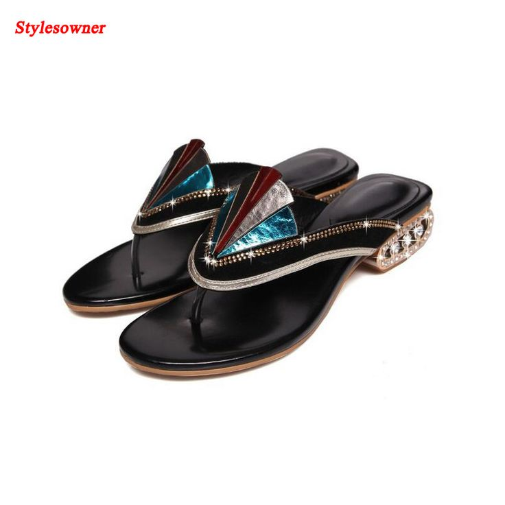Stylesowner Rainbow Color Bling bling Flat Slippers 2017 Summer New Flip Flop Beach Sandals Shoes Women ethnic fashion slides