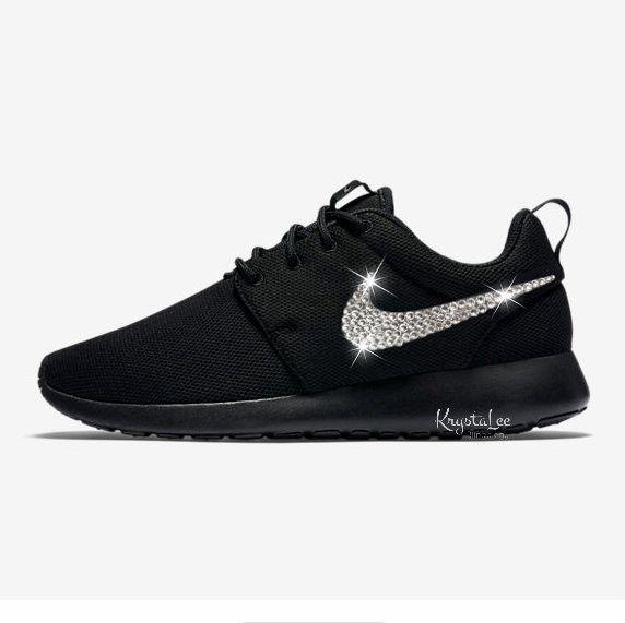 Womens Nike Roshe One Black Custom Bling Crystal Swarovski Sneakers, Running Shoes, Tennis Shoes, Nikes