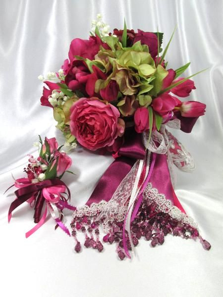 Fuchsia Burgundy, Green and Cream Cascading Bridal Bouquet and Boutonniere Set by Odyssey Creations