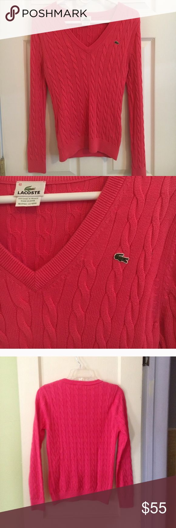 Lacoste pink cable knit v-neck sweater Good condition- fits like a medium/small Lacoste Sweaters V-Necks